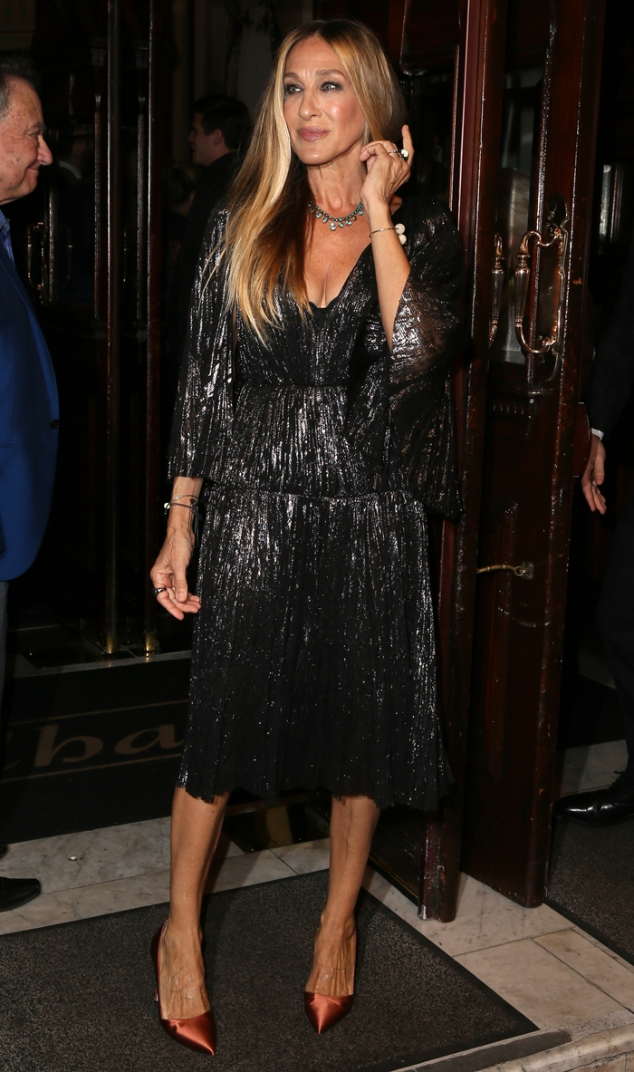 Sarah Jessica Parker flashed her legs in a metallic dress
