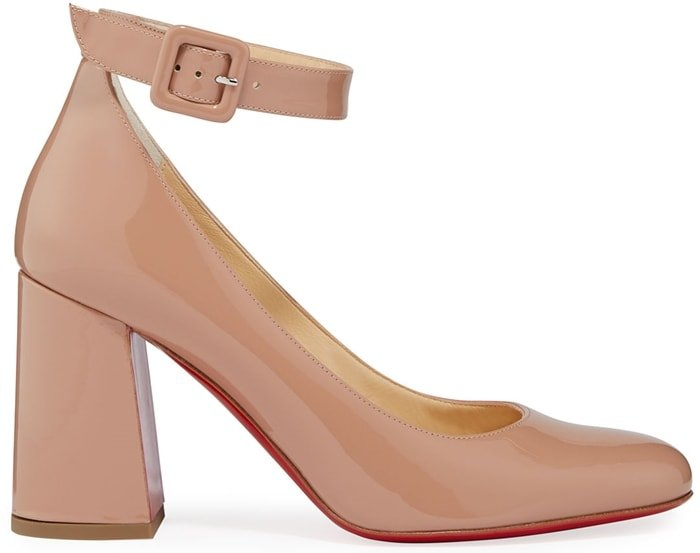Nude Patent Soval Leather Mary Jane Pumps