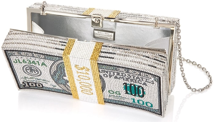 Judith Leiber's tongue-in-cheek 'Stack of Cash' box clutch is designed to mimic a handful of bills