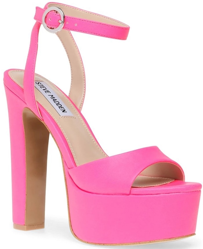 A lofty platform amplifies the retro appeal of this standout pink ankle-strap sandal
