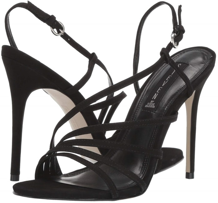 Complete your look with this sleek black Belize heeled dress sandals