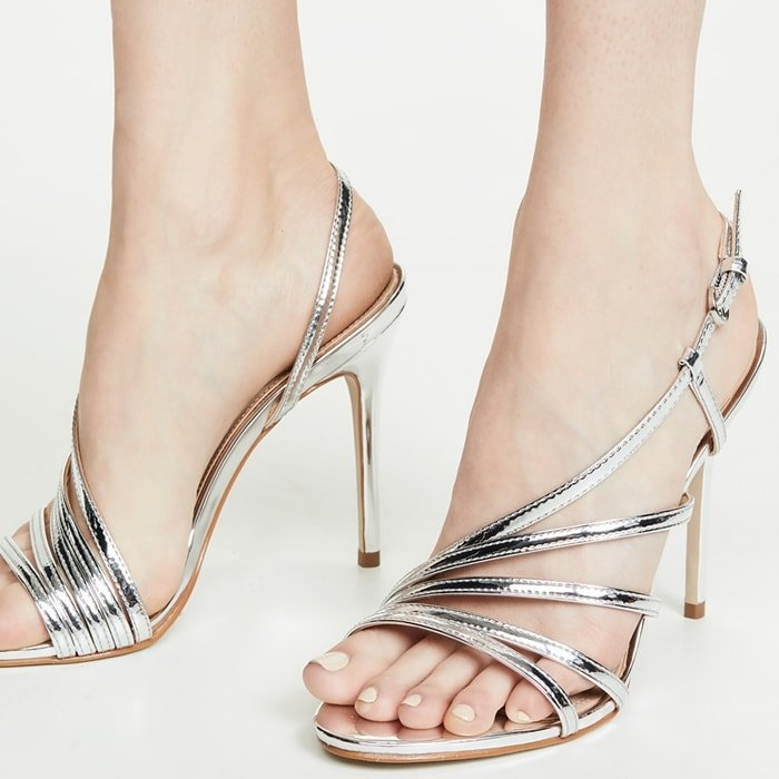 Complete your look with this sleek silver metallic Belize heeled dress sandals