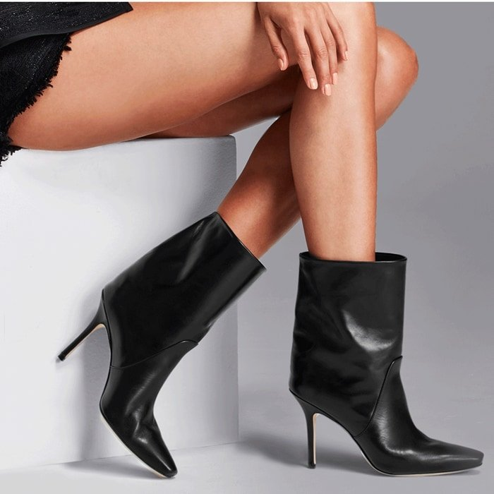 A looser fit gives these leather stiletto booties cool-girl attitude
