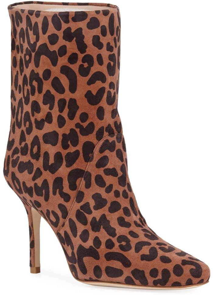 Stuart Weitzman Ebb leopard-printed suede booties