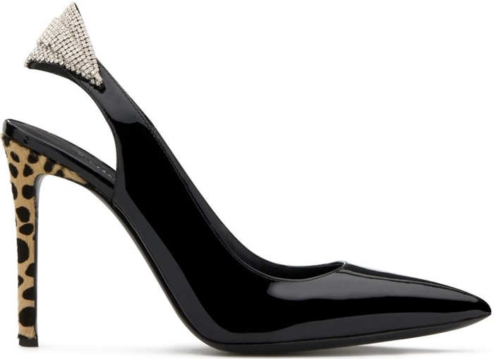 These high-heel, black patent leather slingback sandals are characterized by a crystal accessory in the back strap, and by the covered heel in natural, animal-print pony