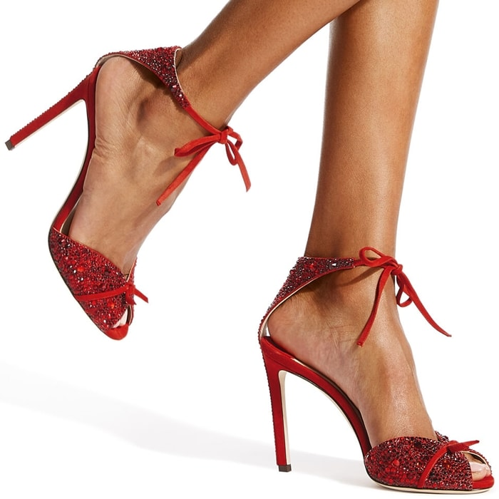 The Talaya 100 party heel in red suede with shimmering crystal hot fix are all you need to dance the night away