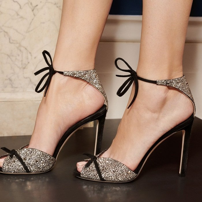 The Talaya 100 party heels in black suede with shimmering crystal hot fix are all you need to dance the night away