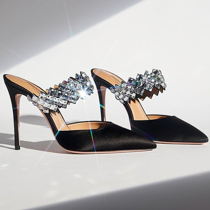 Aquazzura Talisman Crystal-Embellished Mules