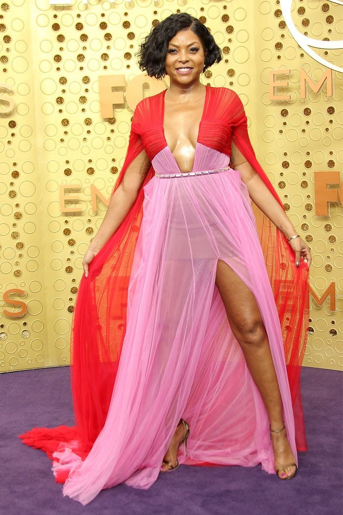 Taraji P. Henson in a custom Vera Wang pink-and-red dress at the 2019 Emmy Awards