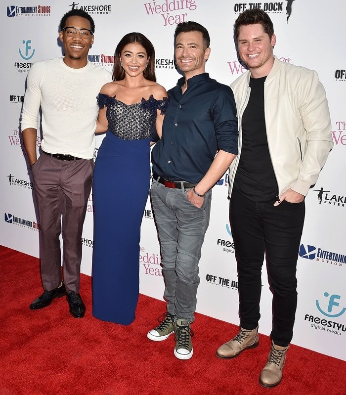 "Tyler James Williams, Sarah Hyland, Robert Luketic and Matt Shively attend the LA Premiere Of Entertainment Studios Motion Pictures' ""The Wedding Year"""