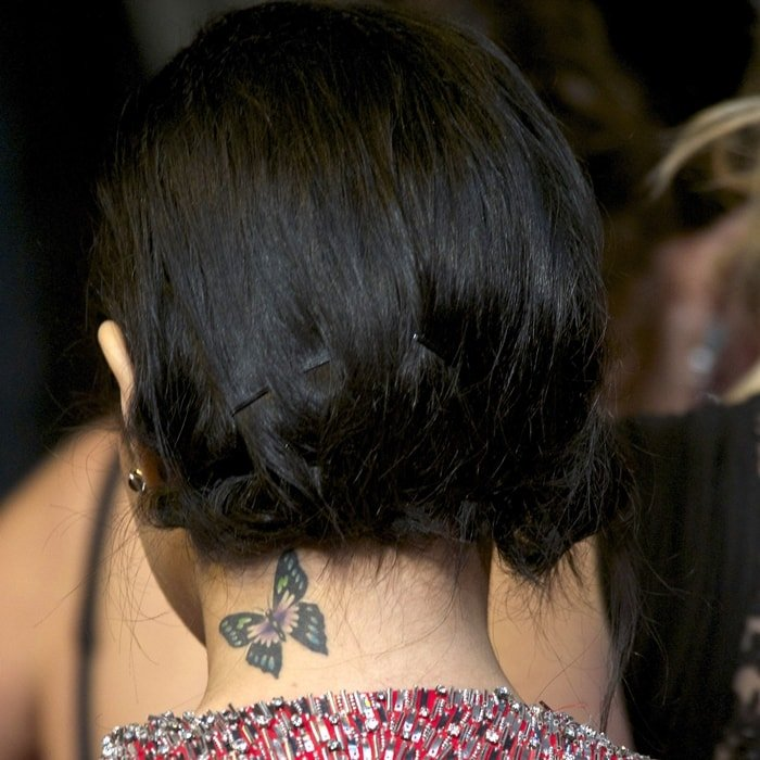 Vanessa Hudgens has a colorful butterfly inked on her neck