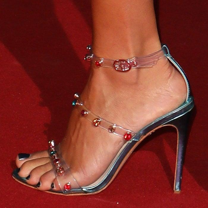 Vick Hope's feet in turquoise Sophia Webster Rosalind Gem sandals