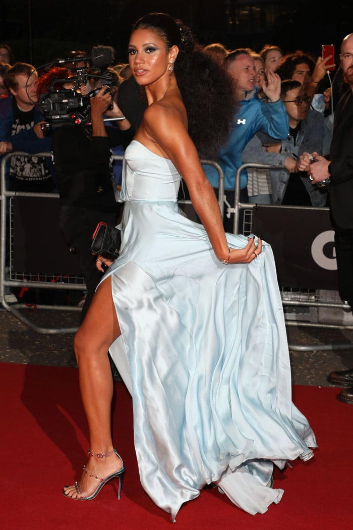 Vick Hope in an icy blue strapless gown and Sophia Webster Rosalind Gem sandals