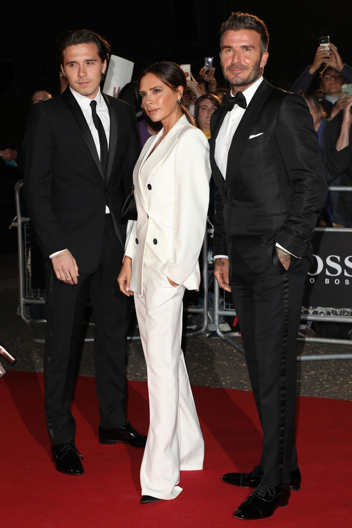 Victoria Beckham with Brooklyn Beckham and David Beckham at the 2019 GQ Men of the Year Award
