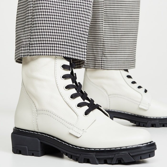 rag & bone's leather 'Shiloh' combat boots are fitted with Chelsea-style elasticated side panels, making them extra snug and comfortable around the ankles