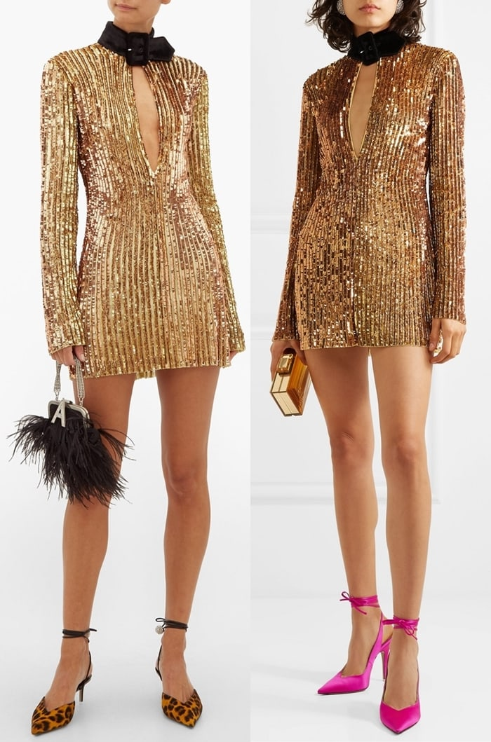 This mini dress is cut from tulle sewn with scores of prismatic sequins and beads in soft golden hues. It has a buckled velvet collar that contrasts the plunging neckline