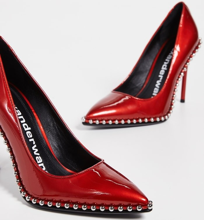 Smooth leather stiletto Rie pumps from Alexander Wang with delicate metal stud trim