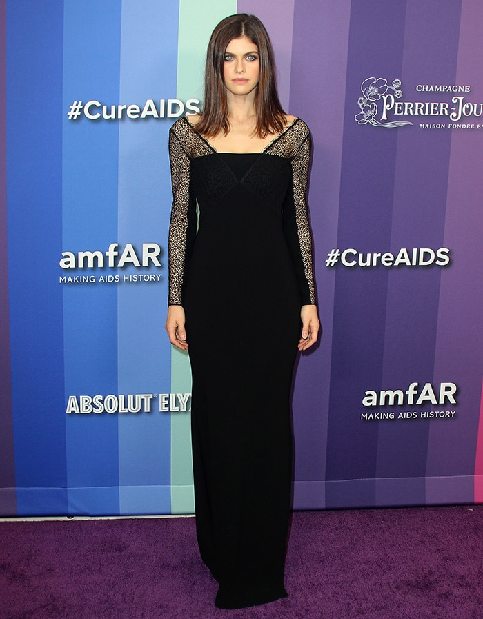 Alexandra Daddario goes for a gothic look at the 10th Annual amfAR Los Angeles Gala held at Milk Studios in Los Angeles on October 10, 2019
