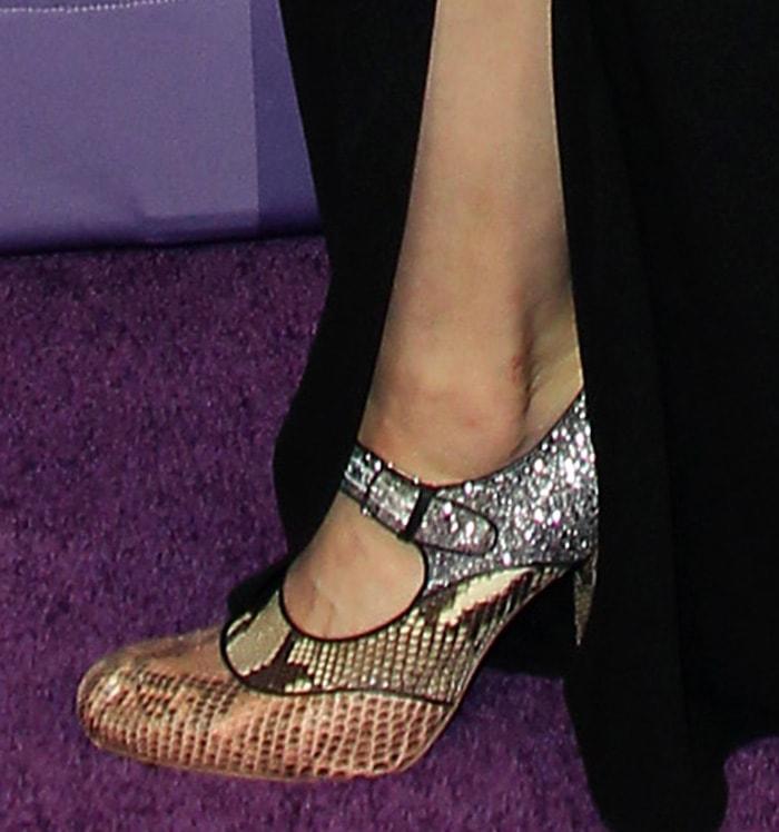 Alexandra Daddario opts for Miu Miu python and glitter Mary Jane pumps