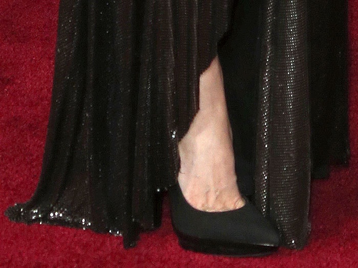 Angelina Jolie's feet in Versace double-platform pumps