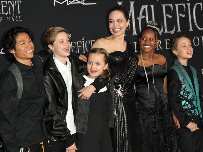 Angelina Jolie In Versace Scorpion Brooch Gown Double