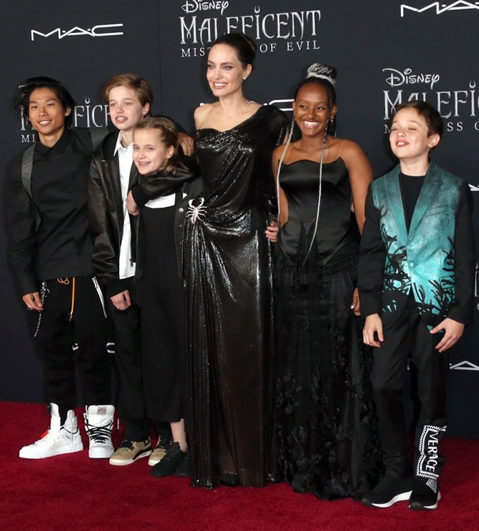 Angelina Jolie with her children at the Maleficent premiere