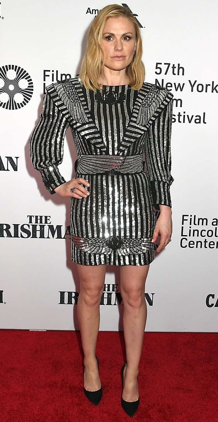 Anna Paquin flaunts her long legs at the premiere of The Irishman during the opening night of the 2019 New York Film Festival