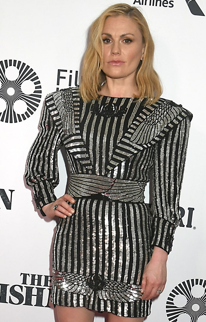 Anna Paquin's crotch-embellished Dundas dress with vagina wings and enormous shoulder pads