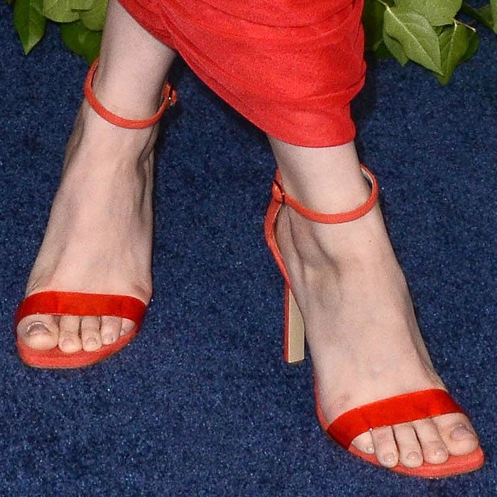 Ariel Winter's feet in red Loriblu PVC-strap sandals