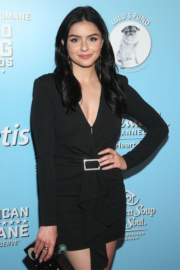 Ariel Winter in an NBD Ciaran long-sleeved mini dress