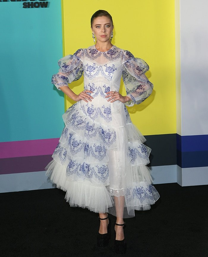 Bel Powley opts for a vintage-inspired Simone Rocha tulle dress
