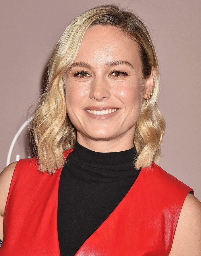 Brie Larson is red hot in a leather ensemble by Rosetta Getty