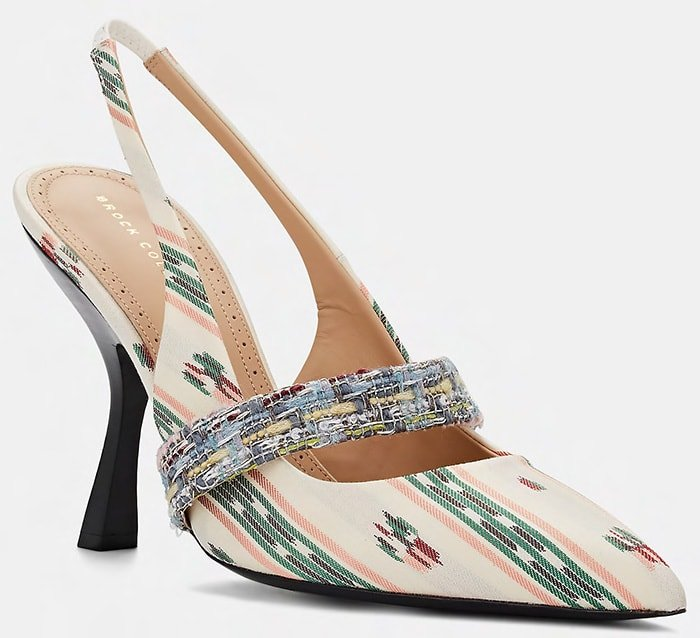 Brock Collection's slingback pumps are expertly crafted in Italy of cream and multicolored striped jacquard