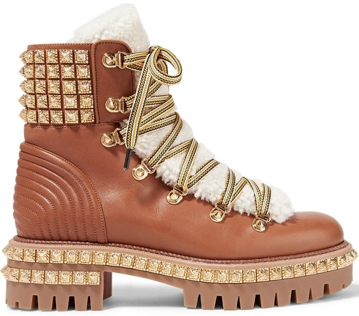 These boots have been made in Italy from smooth tan leather and have a plush shearling tongue secured by colorful rope-inspired laces