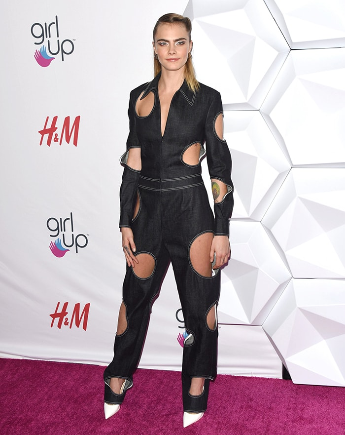 Cara Delevingne puts on a quirky look at the at the 2nd Annual Girl Up #GirlHero Awards in Los Angeles on October 13, 2019