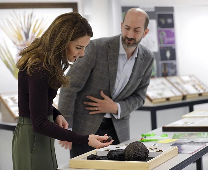 Catherine, Duchess of Cambridge with the head of Angela Marmont Centre Dr. John Tweddle