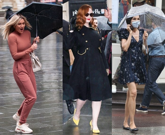 Ashley Roberts, Christina Hendricks, and Famke Janssen get their shoes wet in the rain