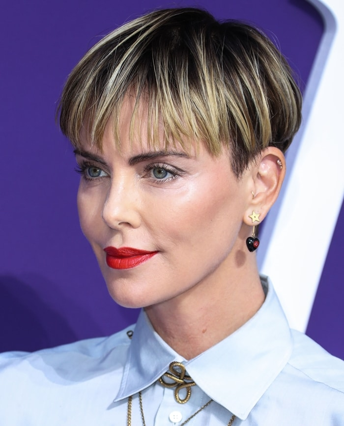 Charlize Theron's bowl haircut by celebrity hairstylist Adir Abergel