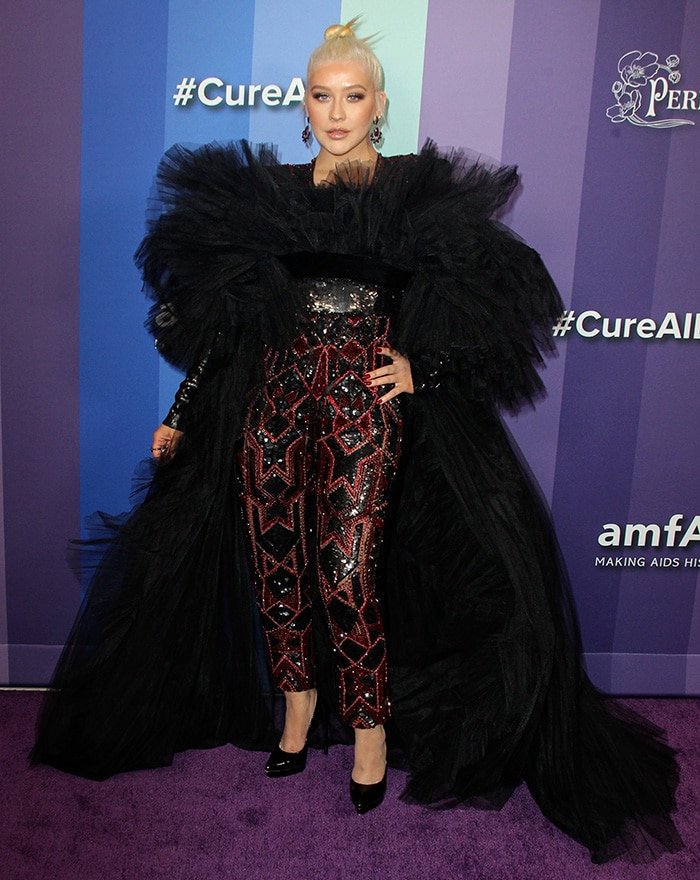 Christina Aguilera performs at the 10th Annual amfAR Los Angeles Gala held at Milk Studios in Los Angeles on October 10, 2019