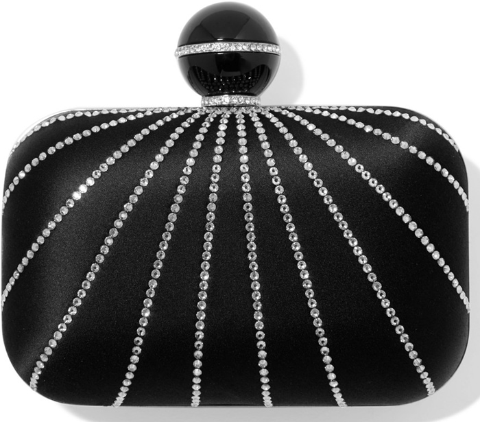 This 'Cloud' clutch is made from lustrous satin and decorated with a sunburst of glittering crystals