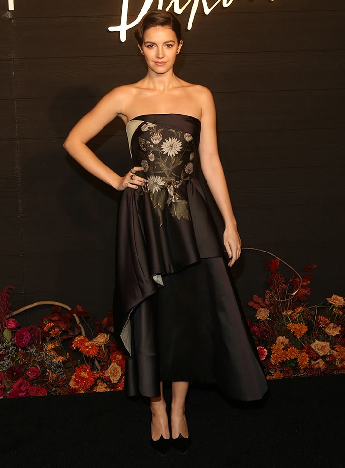 Ella Hunt in an Oscar de la Renta resort 2020 dress at the premiere of Dickinson