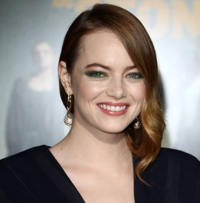 Emma Stone's yellow and green eye makeup