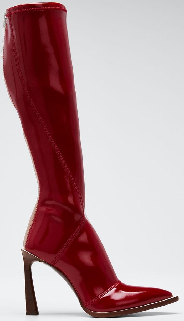 Fendi Neoprene To-The-Knee Boots Red