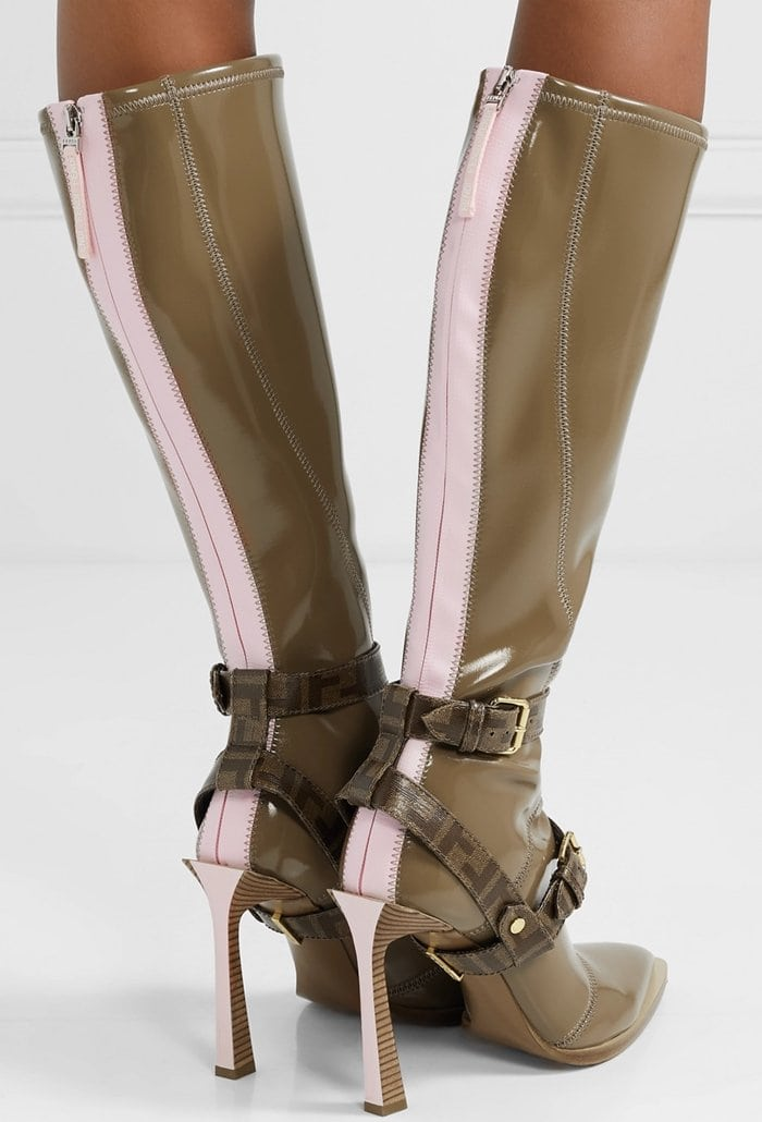 This pair is made from brown and pink glossed-neoprene and detailed with logo-print coated-canvas harness straps
