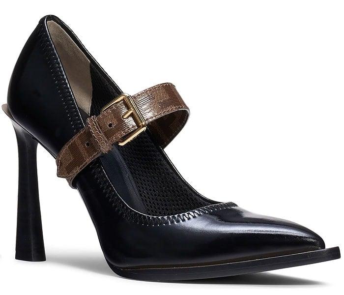 Fendi glossy black neoprene mary-jane pumps