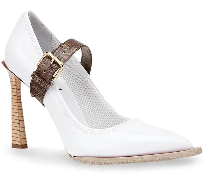 Fendi white neoprene logo-strap mary janes