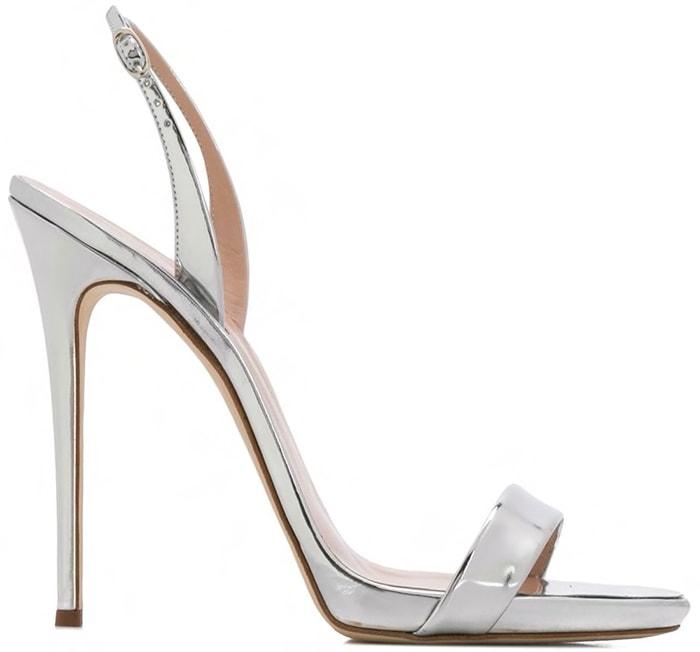 Giuseppe Zanotti silver-tone leather Sophie stiletto sandals