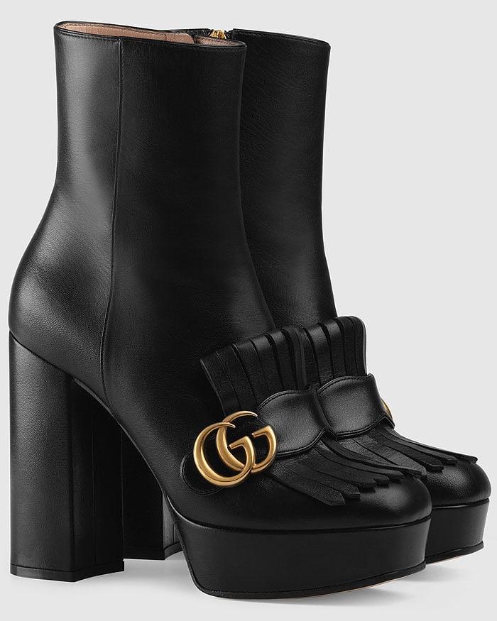 Gucci Marmont kiltie platform boots