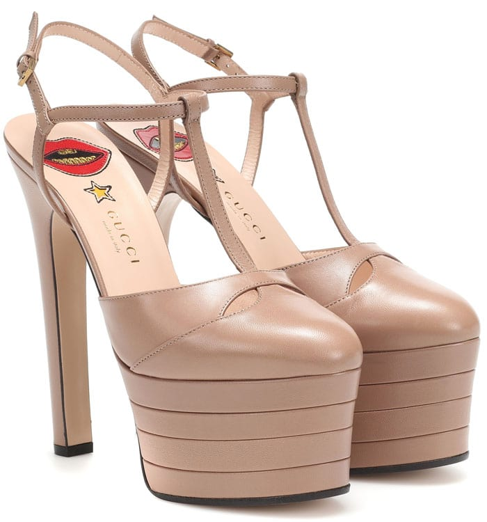 Gucci T-Strap Platform Pumps in Beige Leather