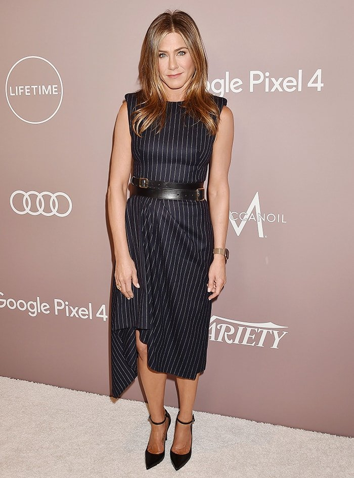 Jennifer Aniston goes business chic atVariety's Power of Women luncheon held at the Beverly Wilshire Four Seasons in Los Angeles on October 11, 2019